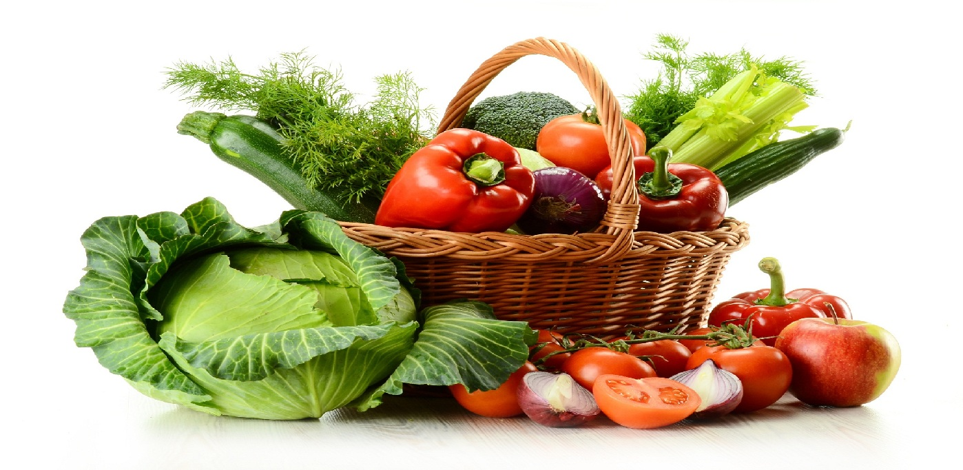 Vegetables in wicker basket